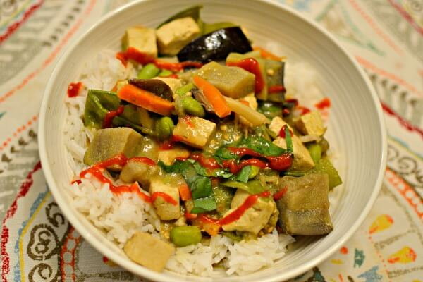 Tofu and veggie coconut green curry over rice.