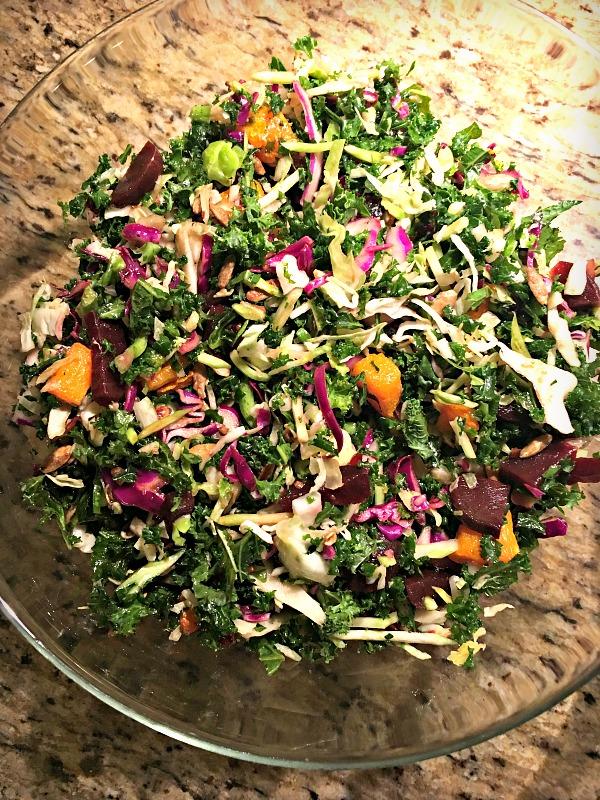 Fall salad with beets, butternut squash, pumpkin seeds and a date vinaigrette
