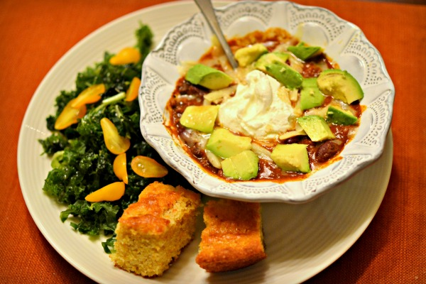 Dinner was chili topped with avocado and plain full-fat greek yogurt, kale salad and corn bread.