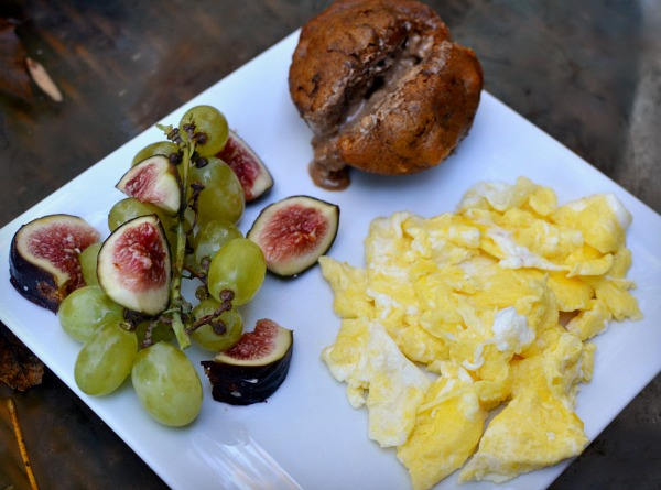 two eggs scrambled with Kerrygold salted butter, grapes and figs and a pumpkin muffin with about a tablespoon of almond butter.