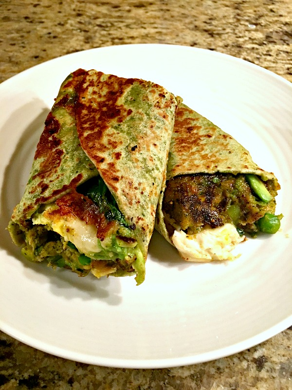 veggie burger wrap with scrambled eggs