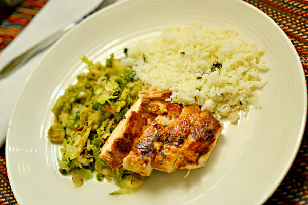 Meyer lemon marinated chicken with shredded brussel sprouts and leftover rice.