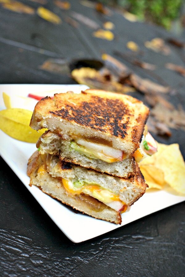 grilled cheese with apples, avocado and fig preserves.
