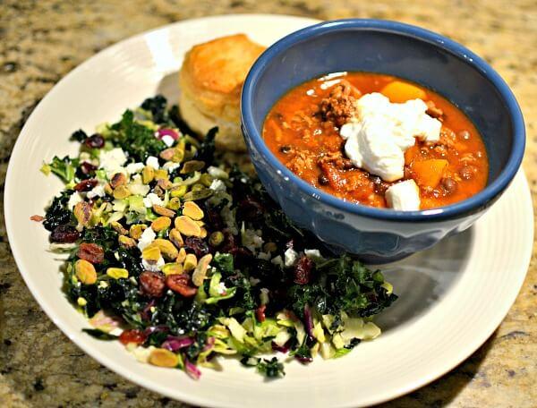 turkey chili and kale salad