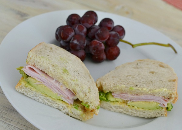 Ham, provolone and avocado sandwich