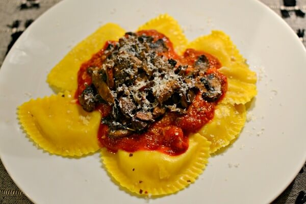 ravioli with marinara, sauteed mushrooms and parmesan