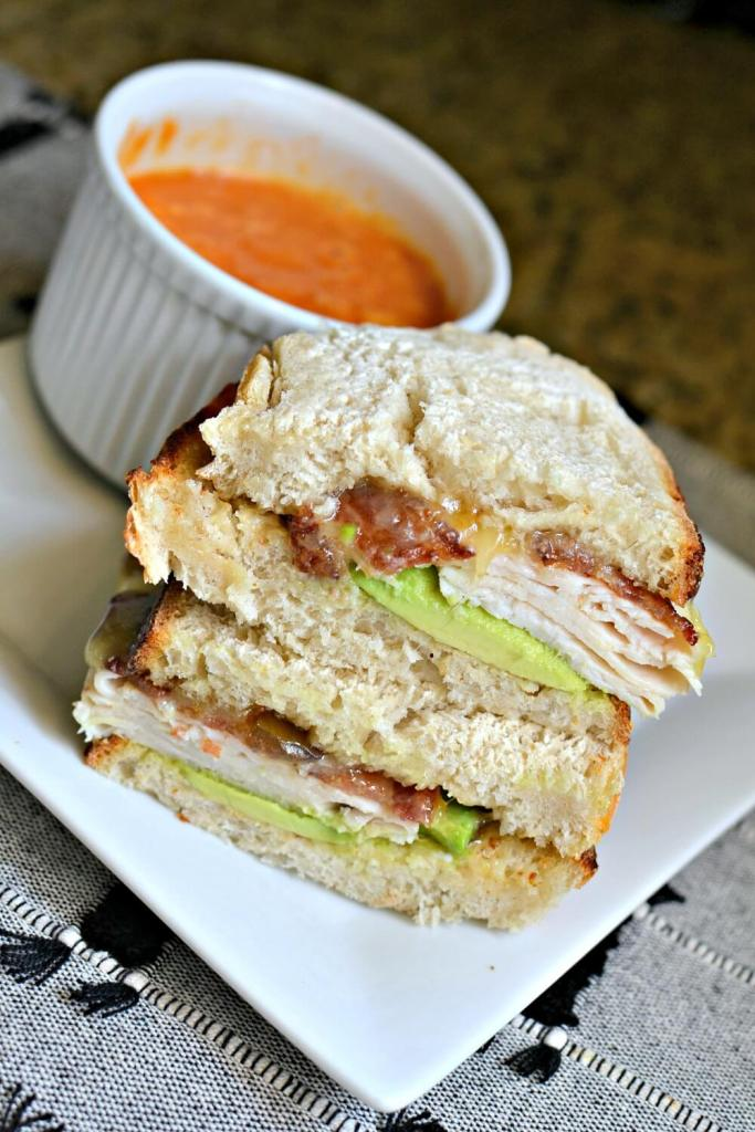 turkey, bacon and fig sandwich with avocado