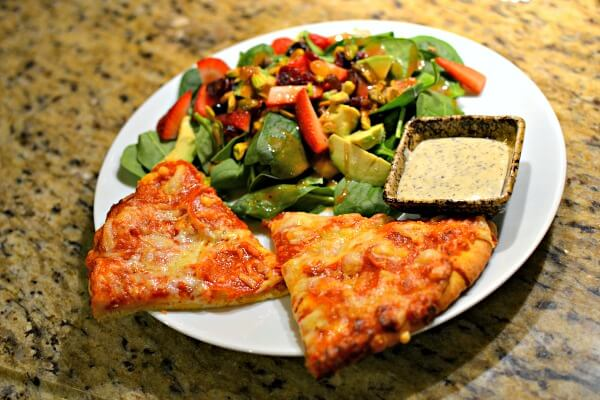 frozen pizza and salad