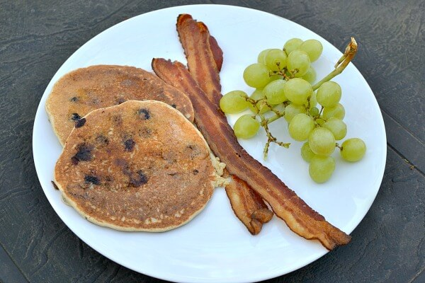 pancakes, bacon and grapes