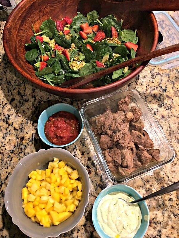 salad and pork taco toppings