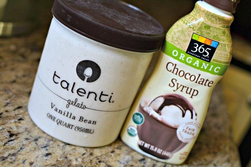 ice cream and chocolate syrup