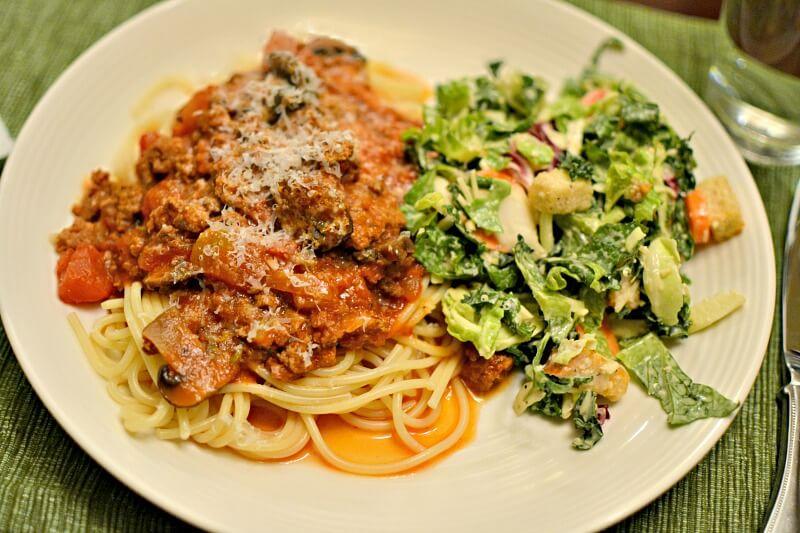 homemade spaghetti sauce and kale caesar