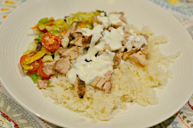 chicken thighs, rice and chopped salad