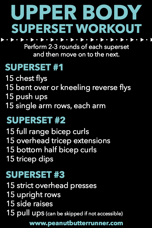 Upper body superset workout using bodyweight and dumbbells