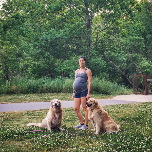 41 weeks pregnant walking with dogs