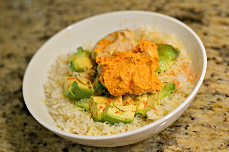 rice bowl with hummus and avocado