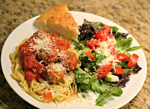 pasta, salad and focaccia