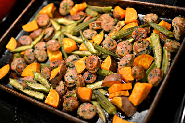 one-pan roasted chicken sausage, okra and sweet potatoes