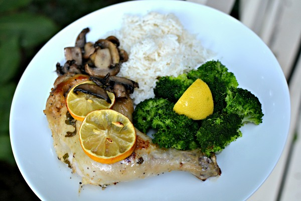 Lemon baked chicken with rice and broccoli