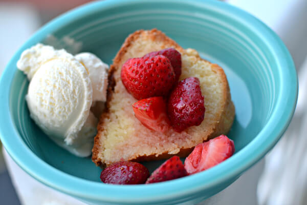 homemade pound cake with strawberries and ice cream