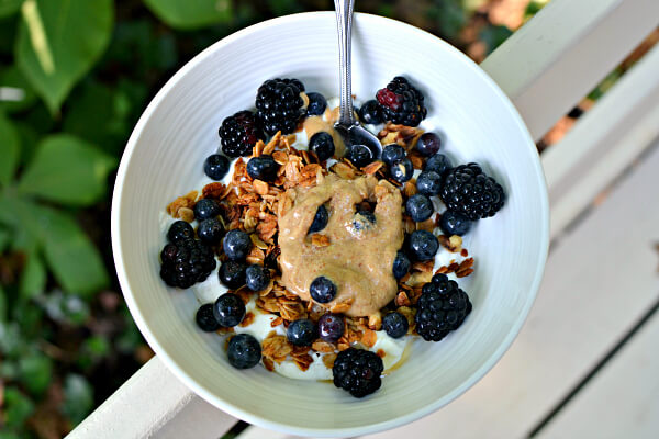 greek yogurt, granola and fresh fruit