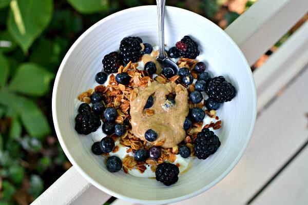 greek yogurt, granola and fresh fruit