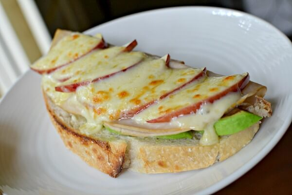 Open faced sourdough, mayo, avocado, turkey, apples and muenster.