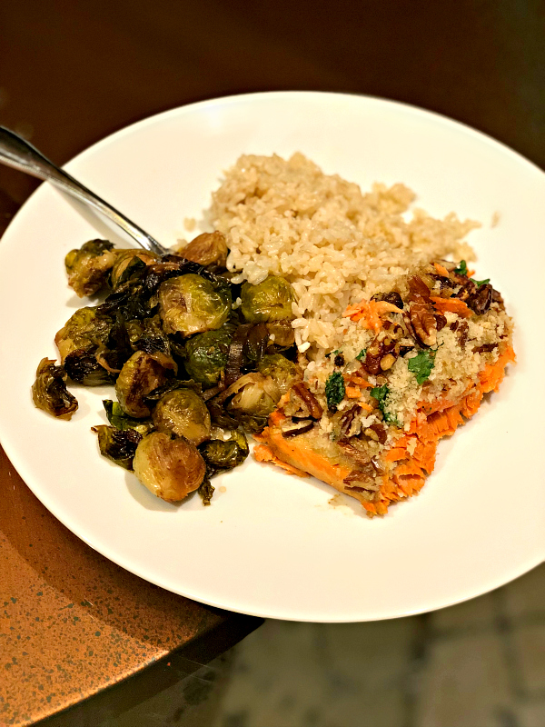 salmon with brussels sprouts and brown rice