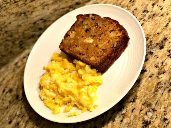 Pumpkin Apple Bread and Scrambled Eggs