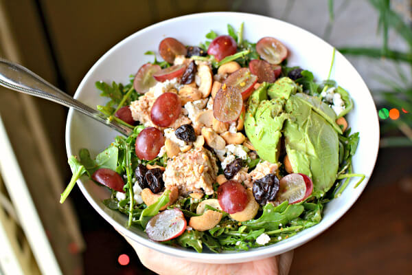 arugula tossed in miso with avocado, grapes, honey goat cheese, cashews, dried cherries and canned salmon