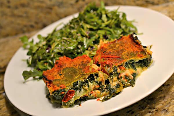 spinach lasagna and arugula salad