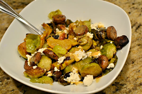 One-Pan Roasted Dinner with Chicken Sausage, Delicata Squash, Brussels Sprouts, Mushrooms, Walnuts and Dried Cherries