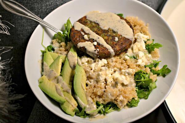 veggie burger, quinoa and avocado bowl