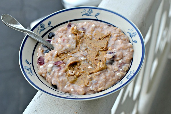 Banana blueberry egg white oatmeal with cottage cheese