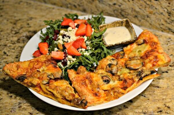 homemade pizza and salad