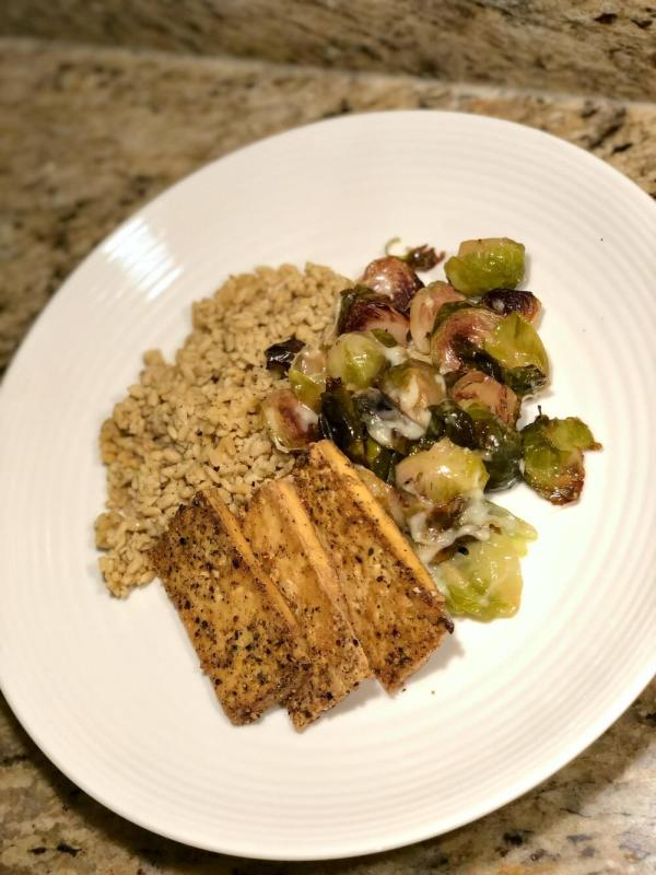 baked tofu with right rice and Brussels sprouts