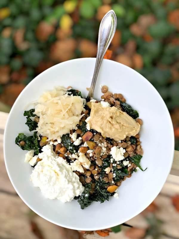 hummus, cottage cheese, sauerkraut, kale and lentil bowl