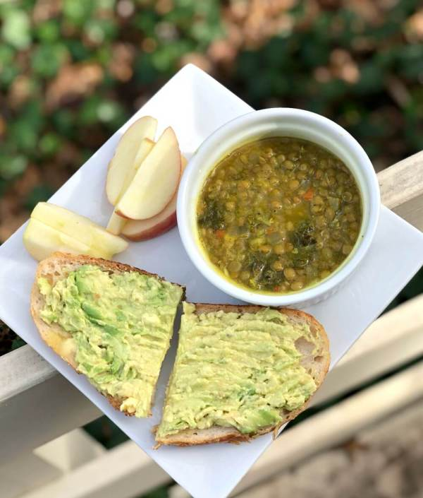 avocado toast with kale and lentil soup