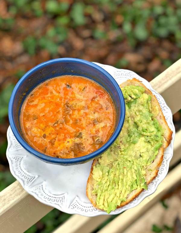 avocado toast with minestrone soup