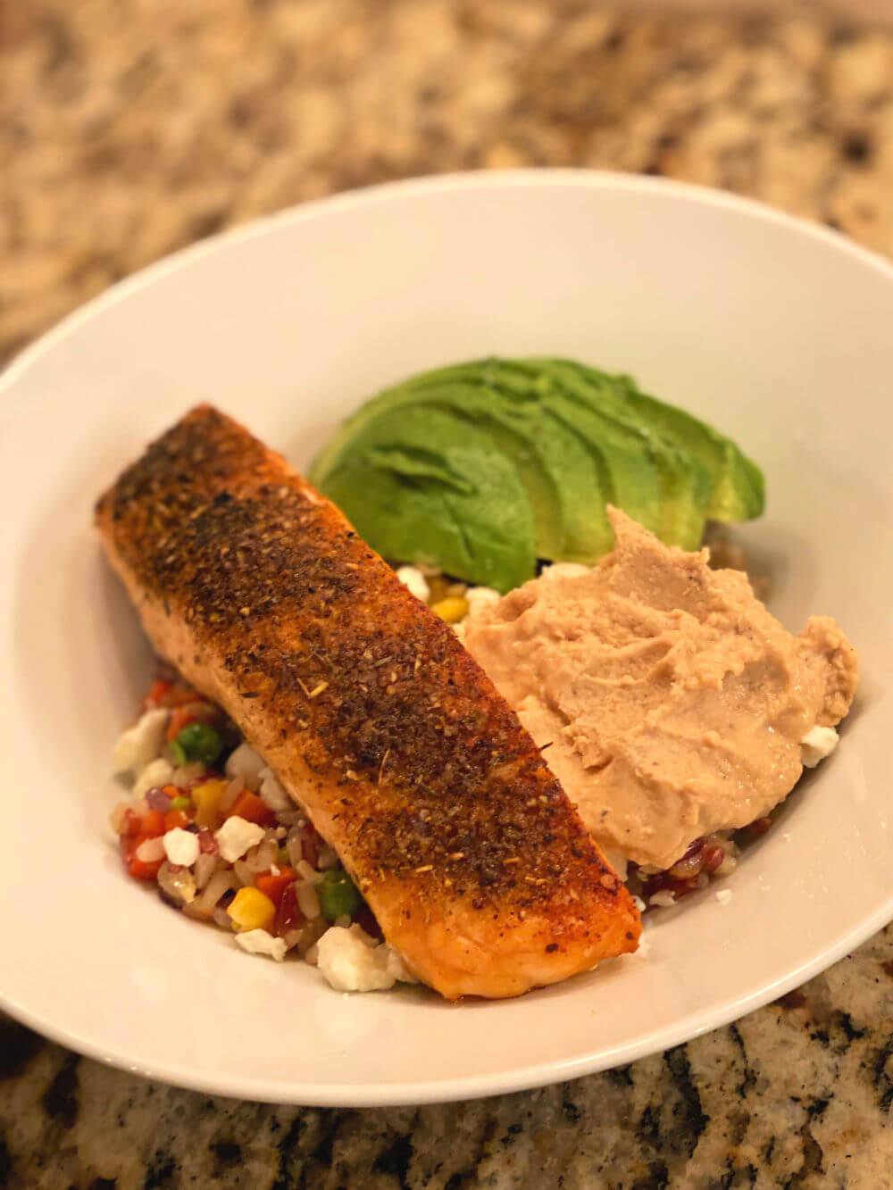 salmon and multigrain vegetable blend bowl
