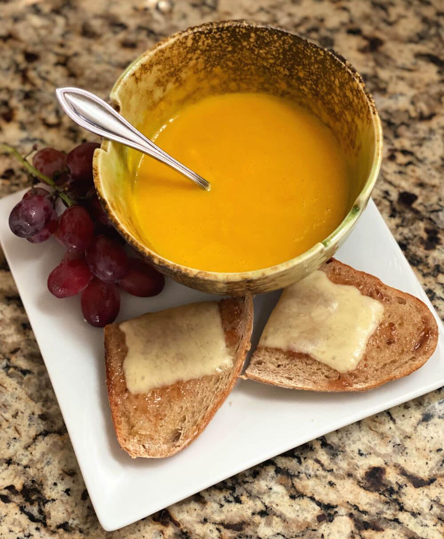 soup and sourdough toast