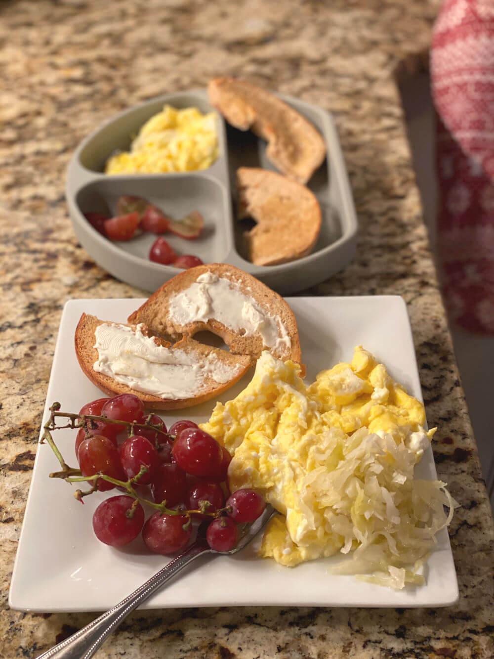 scrambled eggs with sauerkraut