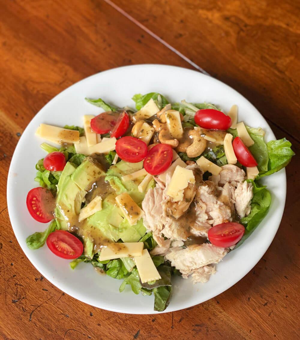 salad with avocado and salmon