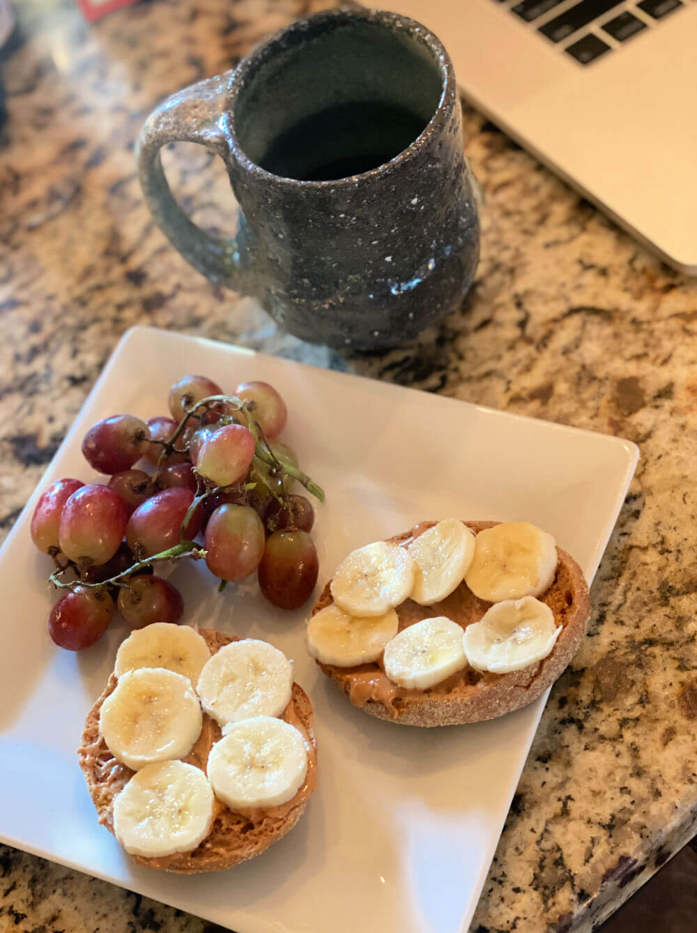 English muffin with peanut butter and banana