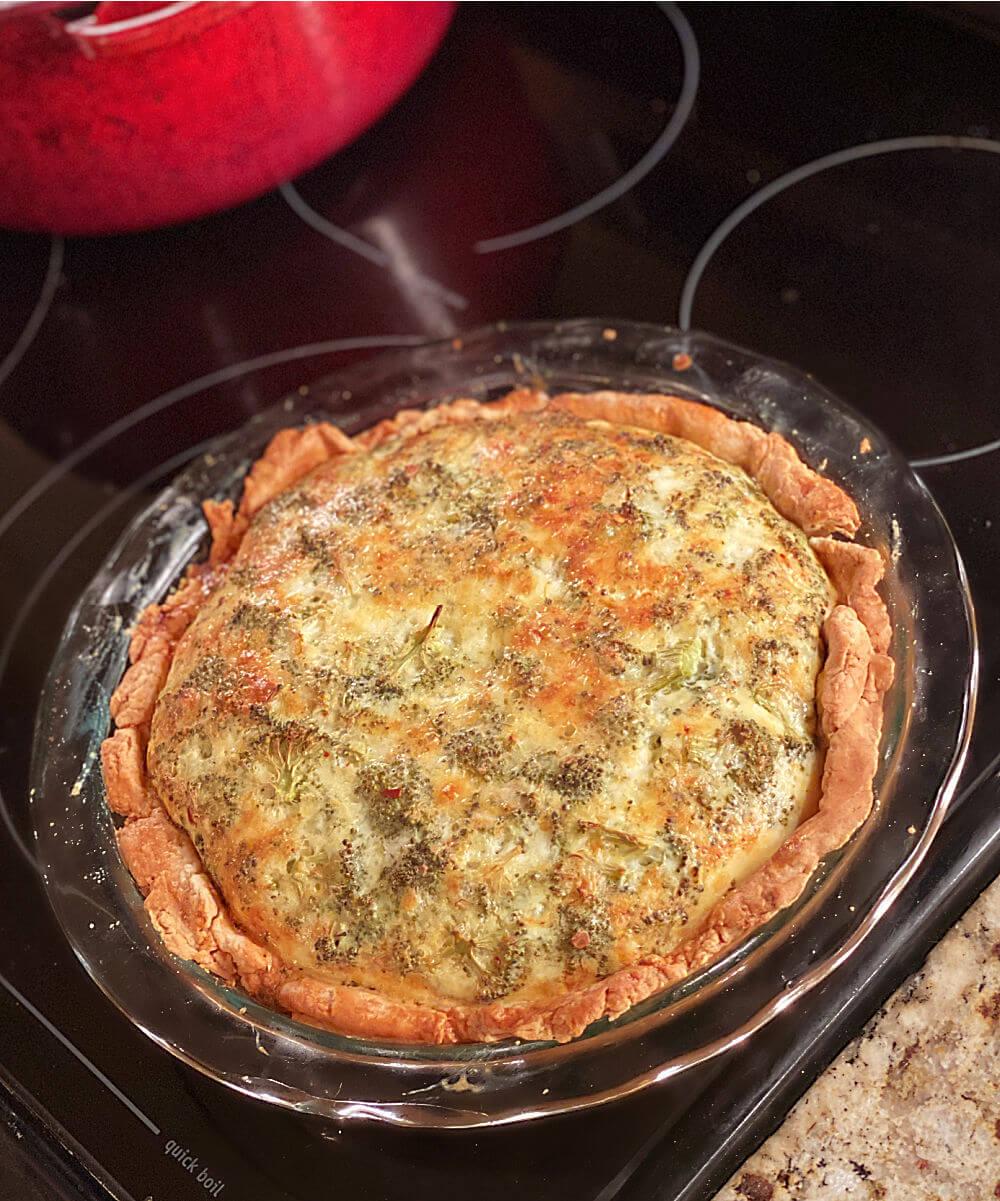homemade broccoli cheddar quiche