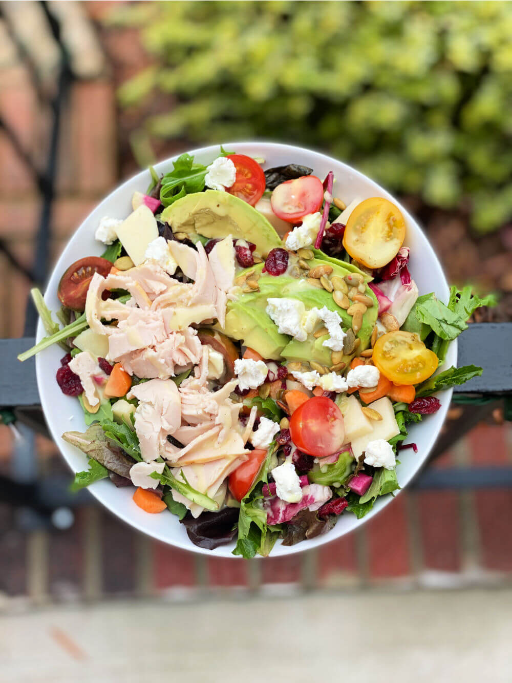 salad with deli turkey and lots of toppings