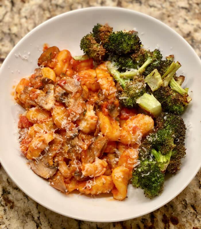 shrimp and mushroom gnocchi bowl