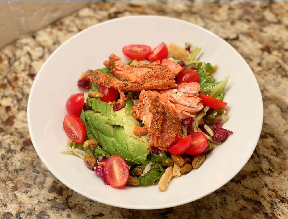 chopped salad with salmon