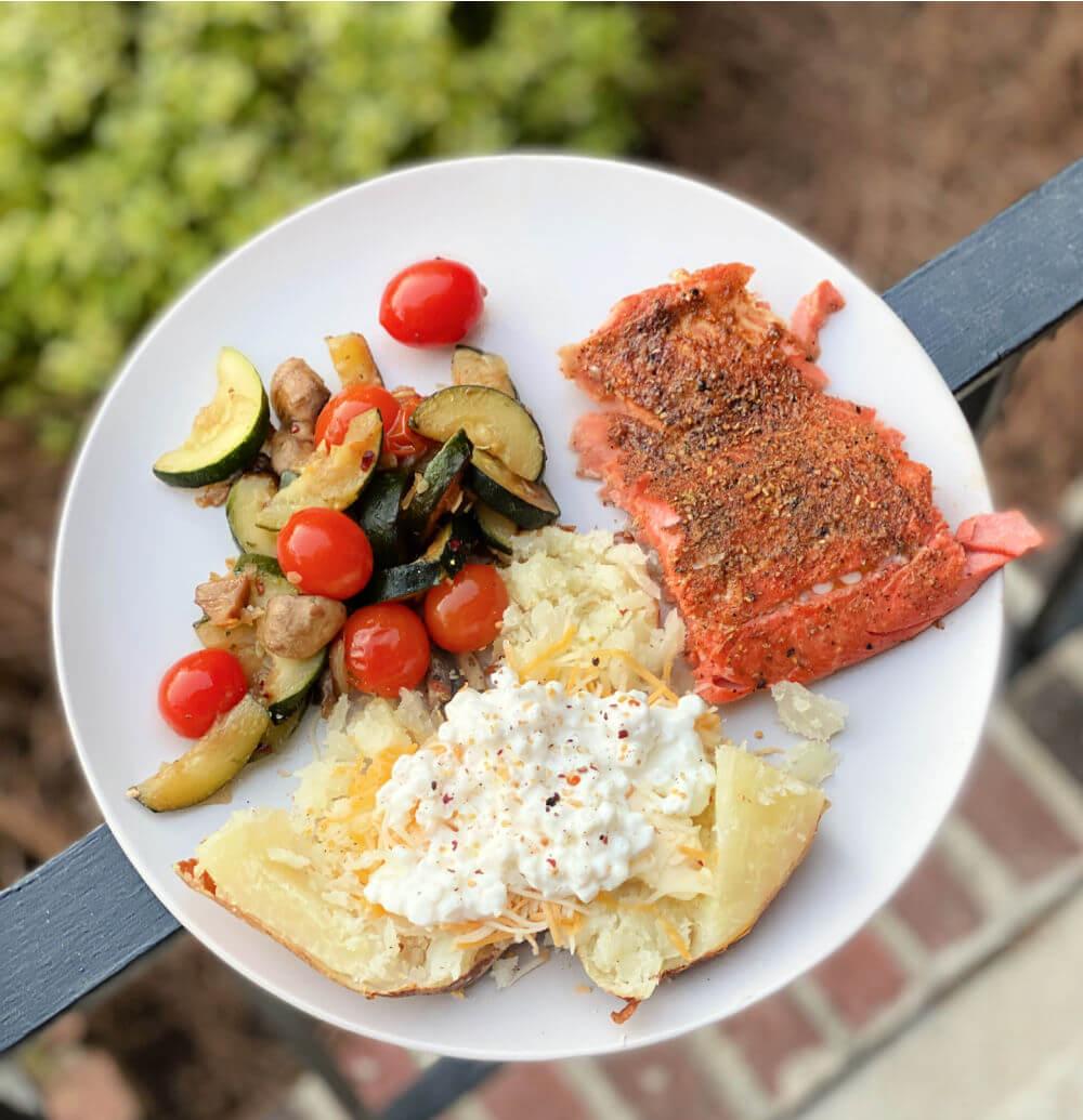 salmon, veggies and baked potato
