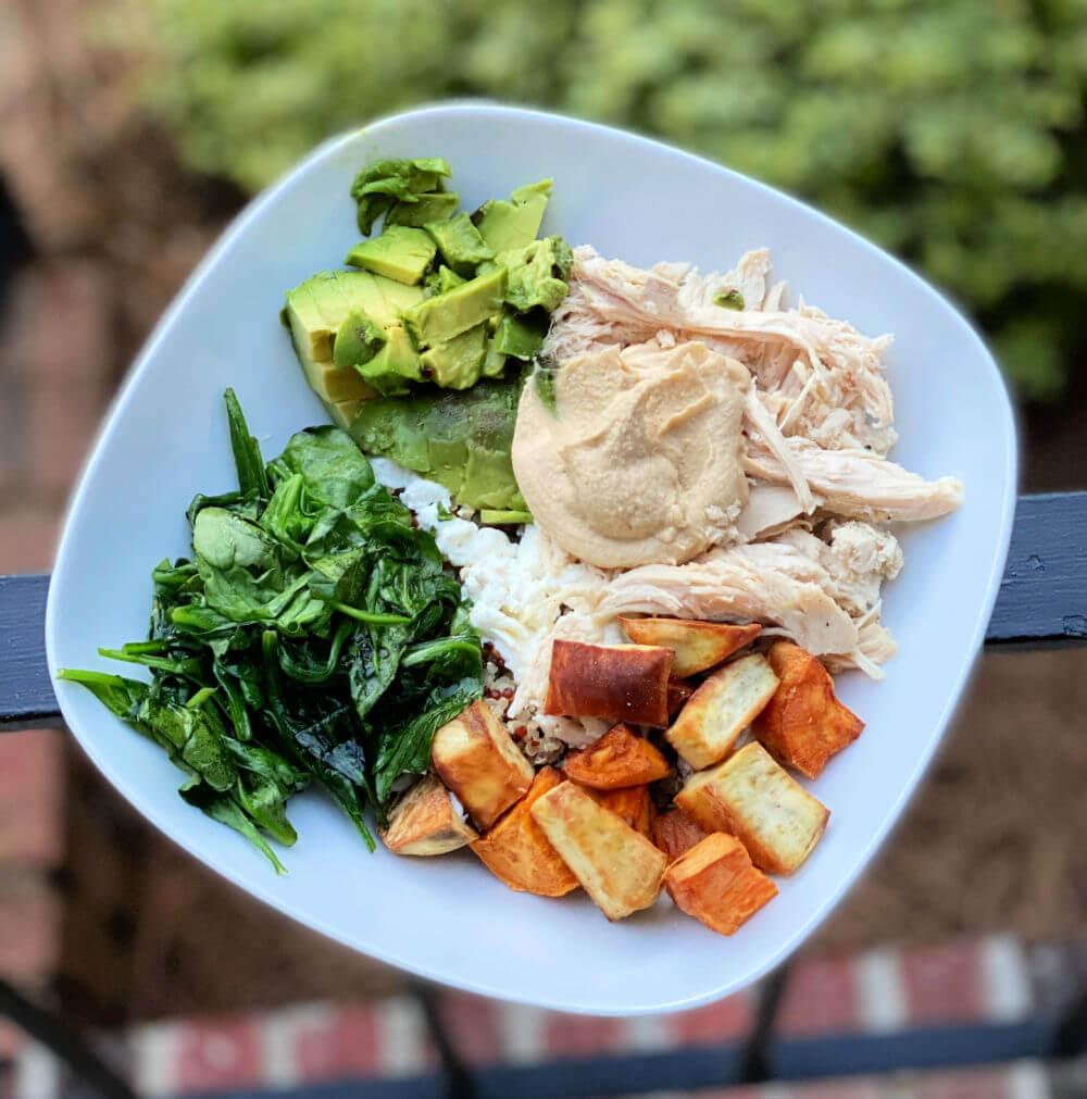 roast chicken, sweet potato and quinoa bowl